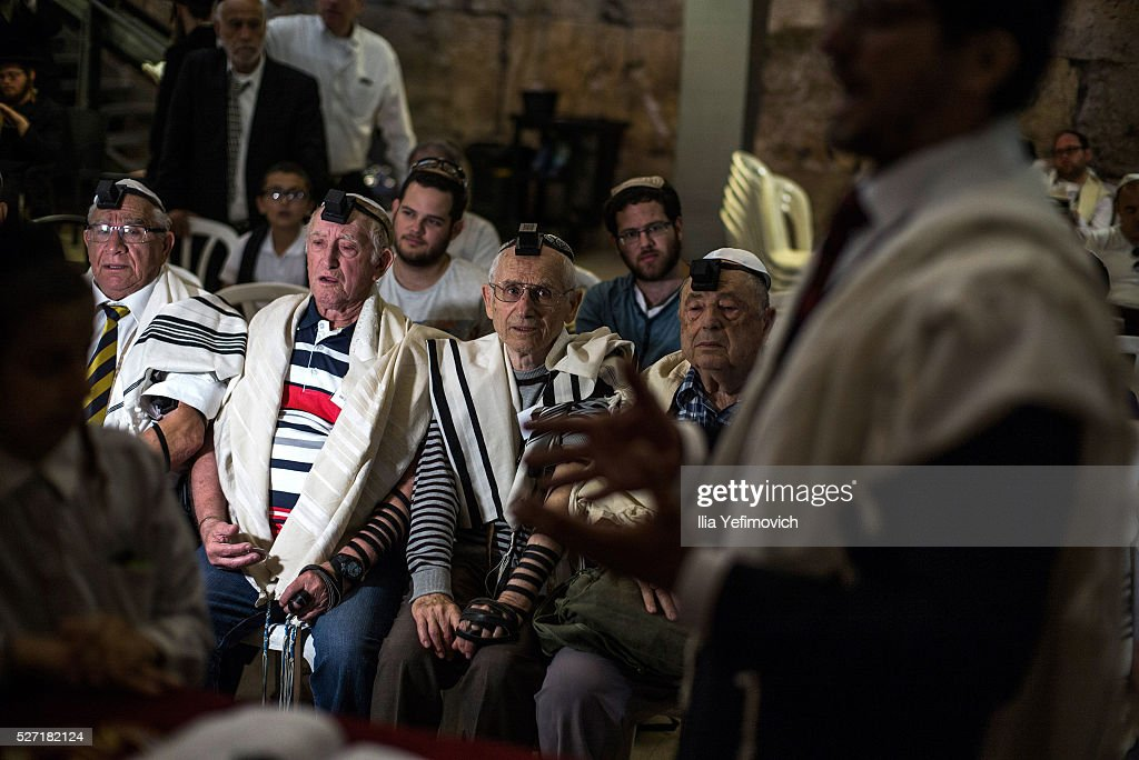 Holocoust survivers seen performing a Bar Mitzvah ceremony on May 2, 2016 in Jerusalem, Israel. Ahead of Holocoust remembrance day, a group of survivors were given the oportunity to particpate in a Bar Mitzvah ceronomy decades after the holocoust.