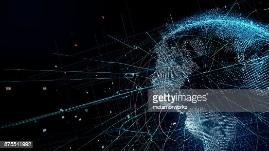 Holographic planet earth. technological background. : Stock Photo