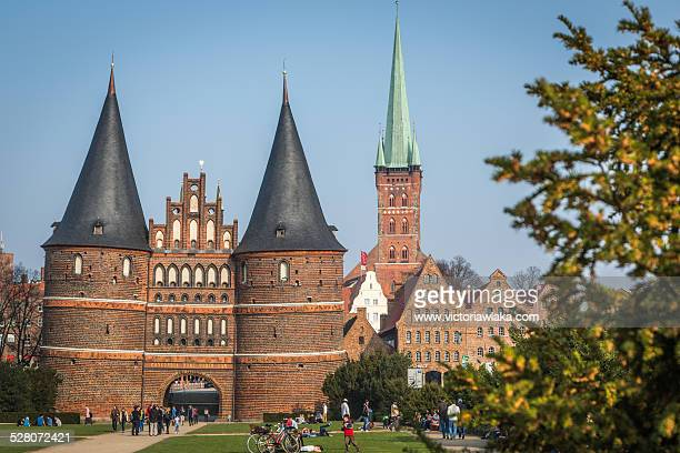 Holstentor and Petri Church, Lübeck, Germany