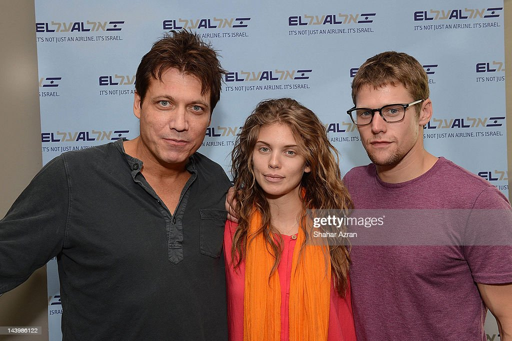 Holt Mc Callany, Annalyne Mc Cord and <a gi-track='captionPersonalityLinkClicked' href=/galleries/search?phrase=Zach+Roerig&family=editorial&specificpeople=4859108 ng-click='$event.stopPropagation()'>Zach Roerig</a> seen at JFK Airport on May 6, 2012 in New York City.