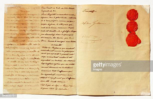 Holy Alliance between the monarchs of Austria and Prussia and Russia Paris Document dated 26th September 1815