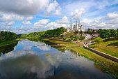 Beautiful view of Holy Assumption Cathedral on Uspenskaya mountain above Western Dvina, Vitebsk, Belarus