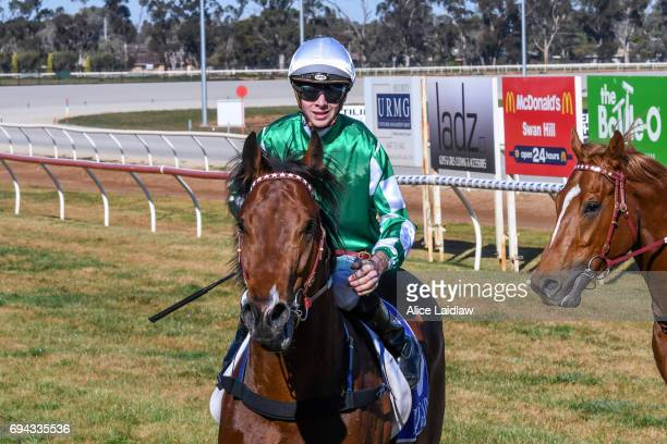 Holy Blade ridden by Jye McNeil returns to scale after winning the Murray Downs Golf Country Club 2YO Maiden Plate at Swan Hill Racecourse on June 10...