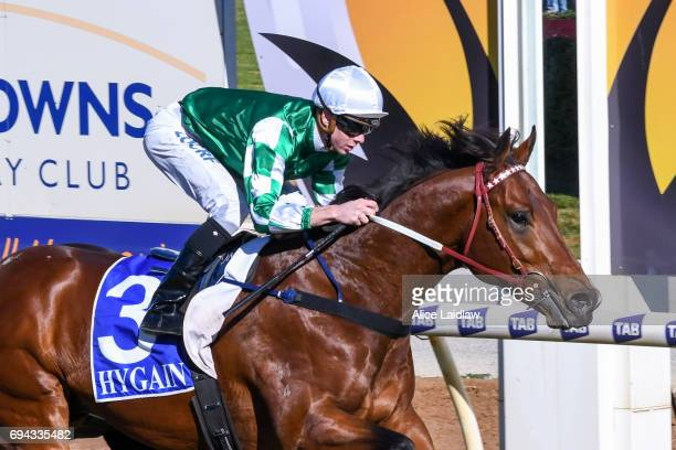 Holy Blade ridden by Jye McNeil wins the Murray Downs Golf Country Club 2YO Maiden Plate at Swan Hill Racecourse on June 10 2017 in Swan Hill...
