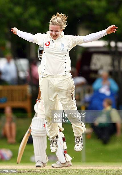 Holy Colvin of England celebrates her caught and bowled dismissal of Shelley Nitschke of Australia during day three of the First Test between...