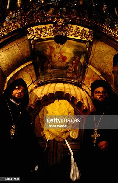 Holy men at Church of Holy Sepulchre on Easter Saturday.