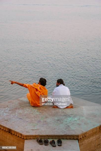 Holy Men in front of Ganges