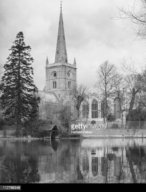 Holy Trinity Church StratfordonAvon Warwickshire where Shakespeare is buried circa 1930