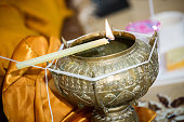 Holy water in wedding ceremony.Thai wedding Object. watering relaunch. Jasmin in water and bowl for the ceremony.