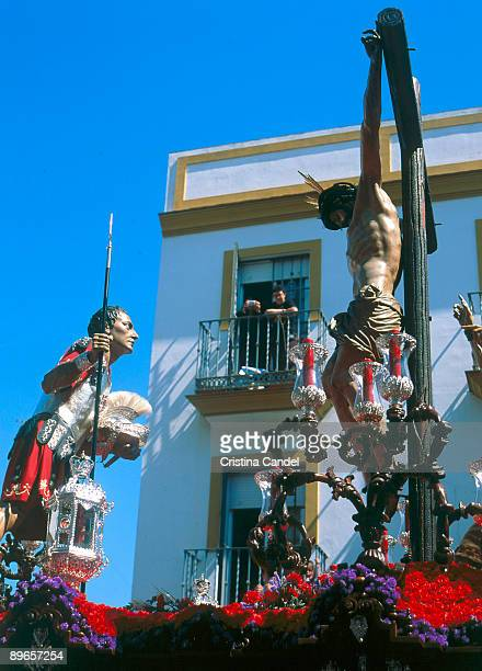 Holy Week processions in Seville El Cerro Fraternity Cristo with Pilatos paso