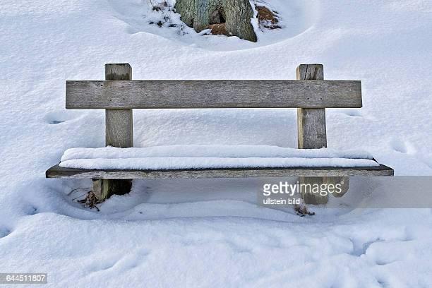 Holzbank im Schnee |Wooden bench in the snow|