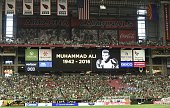 A homage is paid in honour of late boxer Muhammad Ali before the start of the Copa America Centenario football tournament match between Mexico and...