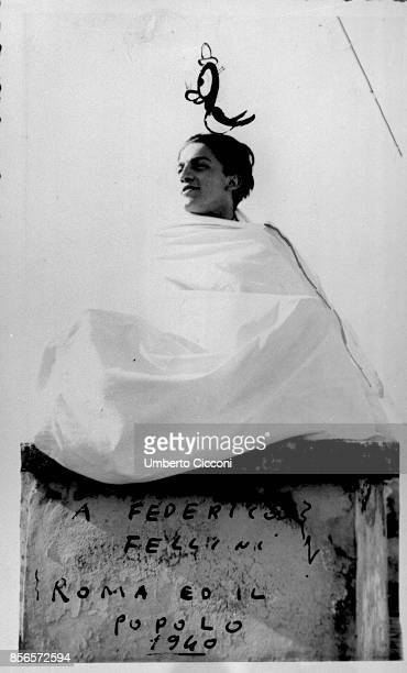Homage to film director Federico Fellini on the stone is written 'To Federico Fellini by Rome and its people 1949'