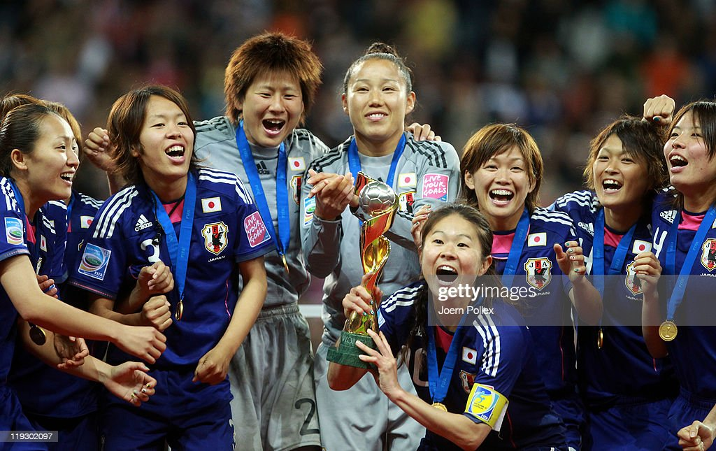 Homara Sawa of Japan lifts the trophy after the FIFA Women's World Cup Final match between Japan and USA at the FIFA World Cup stadium Frankfurt on July 17, 2011 in Frankfurt am Main, Germany.