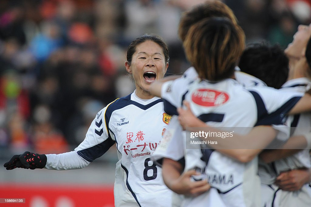 Homare Sawa #8 of INAC Kobe Leonessa celebrates the first goal during the 34th Empress's Cup All Japan Women's Football Tournament final match between INAC Kobe Leonessa and JEF United Chiba Ladies at Nack 5 Stadium Omiya on December 24, 2012 in Saitama, Japan.