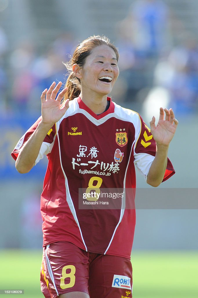 Homare Sawa #8 of INAC Kobe Leonessa celebrates there goal during the Nadeshiko League match between AS Elfen Sayama and INAC Kobe Leonessa at NACK 5 Stadium Omiya on September 30, 2012 in Saitama, Japan.