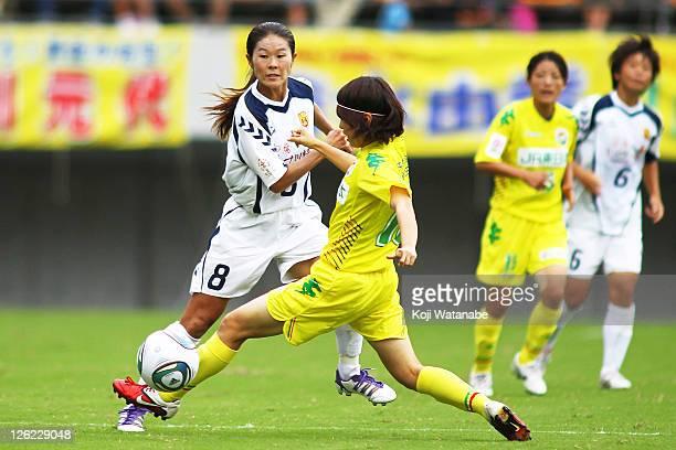 Homare Sawa of INAC Kobe Leonessa in action during Nadeshiko League match between JEF United Chiba Ladies and INAC Kobe Leonessa at the Ichihara...