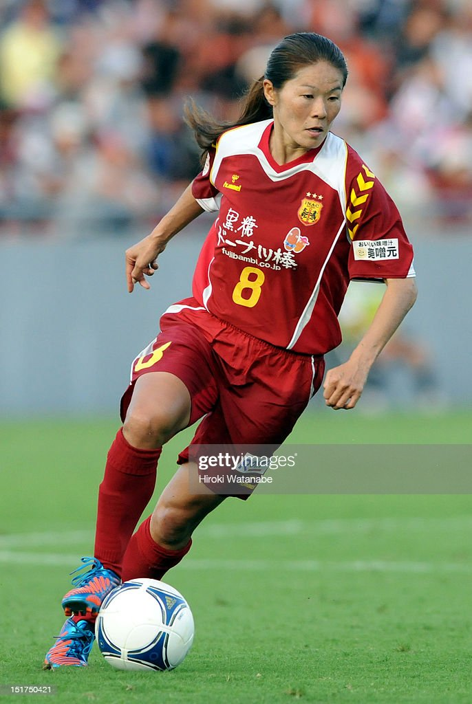Homare Sawa of INAC Kobe Leonessa in action during the Nadeshiko League Cup Final match between NTV Beleza and INAC Kobe Leonessa at NACK 5 Stadium Omiya on September 9, 2012 in Saitama, Japan.