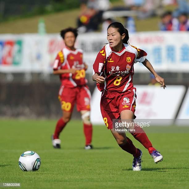 Homare Sawa of INAC Kobe Leonessa in action during the Nadeshiko League match between Okayama Yunogo Belle and INAC Kobe Leonessa at Mimasaka Rugby...