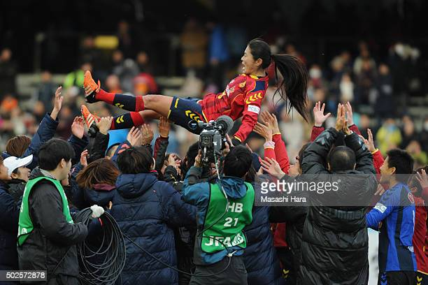 Homare Sawa of INAC Kobe Leonessa is thrown into the air after the 37th Empress's Cup All Japan Women's Championship final match between INAC Kobe...