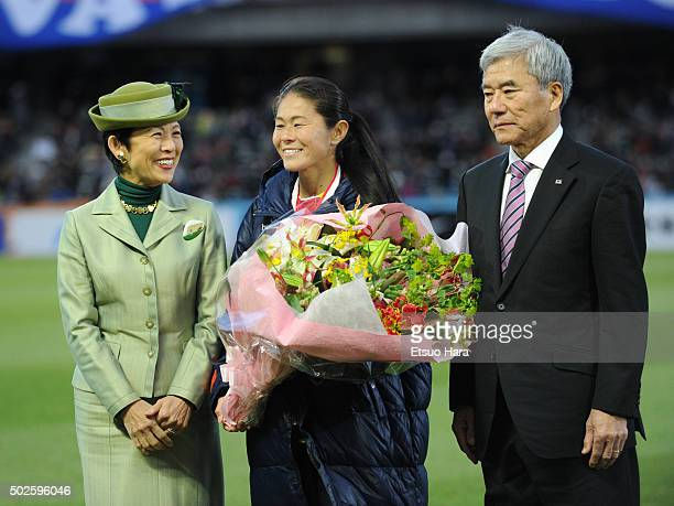 Homare Sawa of INAC Kobe Leonessa poses for Photographers with Princess Hisako Takamado and Kuniya Daini JFA president during the 37th Empress's Cup...