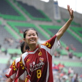 Homare Sawa of INAC Kobe Leonessa waves after the Nadeshiko League match between INAC Kobe Leonessa and NTV Beleza at Home's Stadium on November 6...