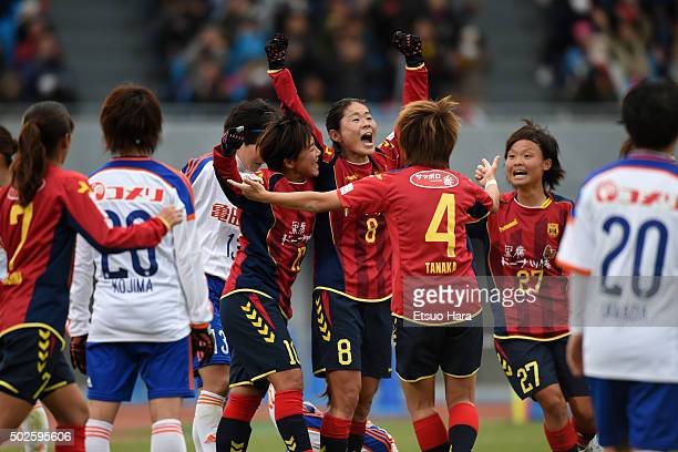 Homare Sawa of INAC Kobe Leonessa#8 celebrates scoring her team's first goal during the 37th Empress's Cup All Japan Women's Championship final match...