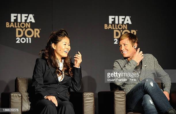 Homare Sawa of Japan and Abby Wambach of the USA during the Women's World Player of the Year nominees press conference during the FIFA Ballon d'Or...