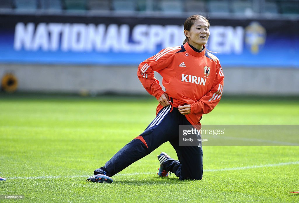 Homare Sawa of Japan attends a training session prior to their Women's Volvo Winners Cup match against Sweden, at Gamla Ullevi stadium on June 19, 2012 in Gothenburg, Sweden.