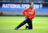 Homare Sawa of Japan attends a training session prior to their Women's Volvo Winners Cup match against Sweden at Gamla Ullevi stadium on June 19 2012...