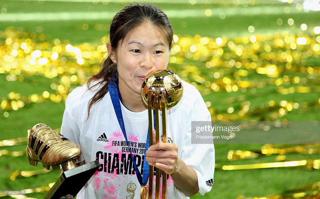 Homare Sawa of Japan celebrates after winning the FIFA Women's World Cup Final match between Japan and USA at the FIFA World Cup stadium Frankfurt on July 17, 2011 in Frankfurt am Main, Germany.