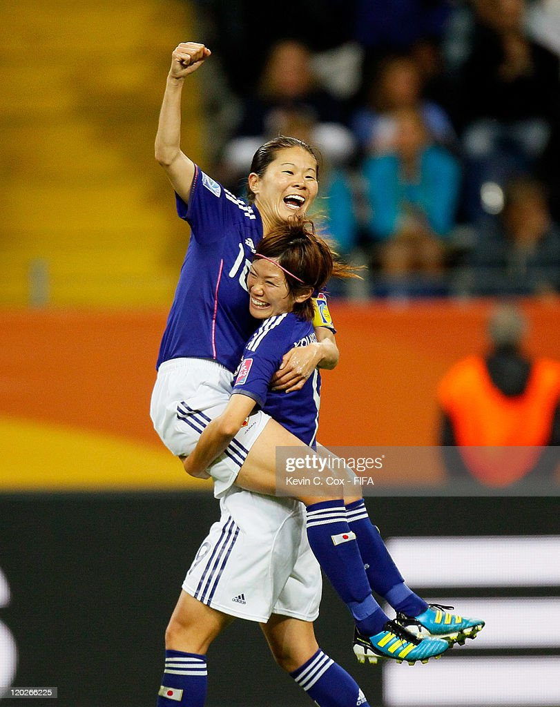 Homare Sawa of Japan celebrates her goal against Sweden with Nahomi Kawasumi during the FIFA Women's World Cup Semi Final match between Japan and Sweden at the FIFA World Cup Stadium Frankfurt on July 13, 2011 in Frankfurt am Main, Germany.