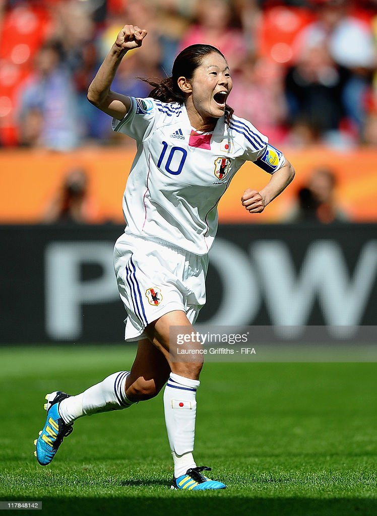 Homare Sawa of Japan celebrates scoring the fourth goal during the FIFA Women's World Cup 2011 Group B match between Japan and Mexico at the Bay Arena on July 1, 2011 in Leverkusen, Germany.