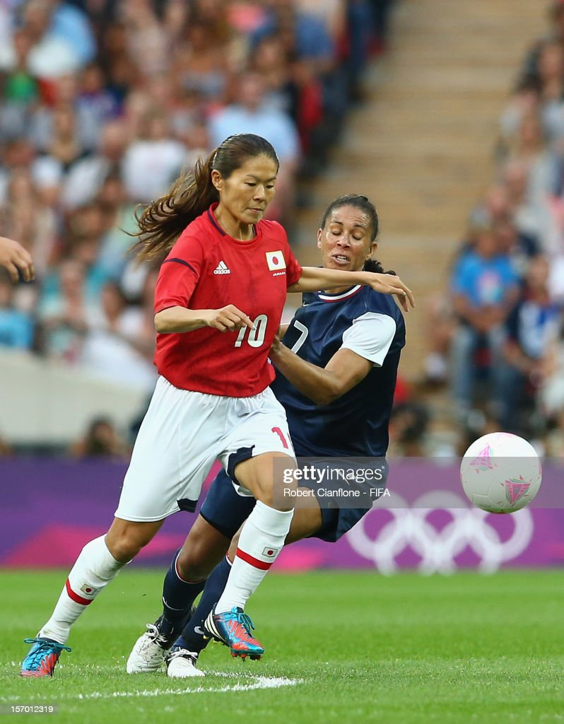 Homare Sawa of Japan controls the ball during the Women's Football Final match between the USA and Japan on Day 13 of the London 2012 Olympic Games at Wembley Stadium on August 9, 2012 in London, England.