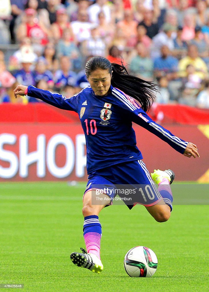 <a gi-track='captionPersonalityLinkClicked' href=/galleries/search?phrase=Homare+Sawa&family=editorial&specificpeople=744563 ng-click='$event.stopPropagation()'>Homare Sawa</a> of Japan in action during the FIFA Women's World Cup 2015 Group C match between Japan and Switzerland at BC Place Stadium on June 8, 2015 in Vancouver, Canada.