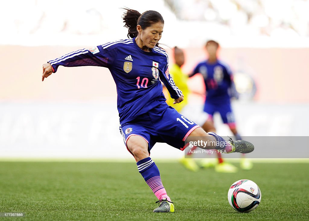 <a gi-track='captionPersonalityLinkClicked' href=/galleries/search?phrase=Homare+Sawa&family=editorial&specificpeople=744563 ng-click='$event.stopPropagation()'>Homare Sawa</a> of Japan in action during the FIFA Women's World Cup 2015 Group C match between Ecuador and Japan at Winnipeg Stadium on June 16, 2015 in Winnipeg, Canada.