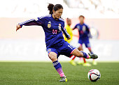 Homare Sawa of Japan in action during the FIFA Women's World Cup 2015 Group C match between Ecuador and Japan at Winnipeg Stadium on June 16 2015 in...