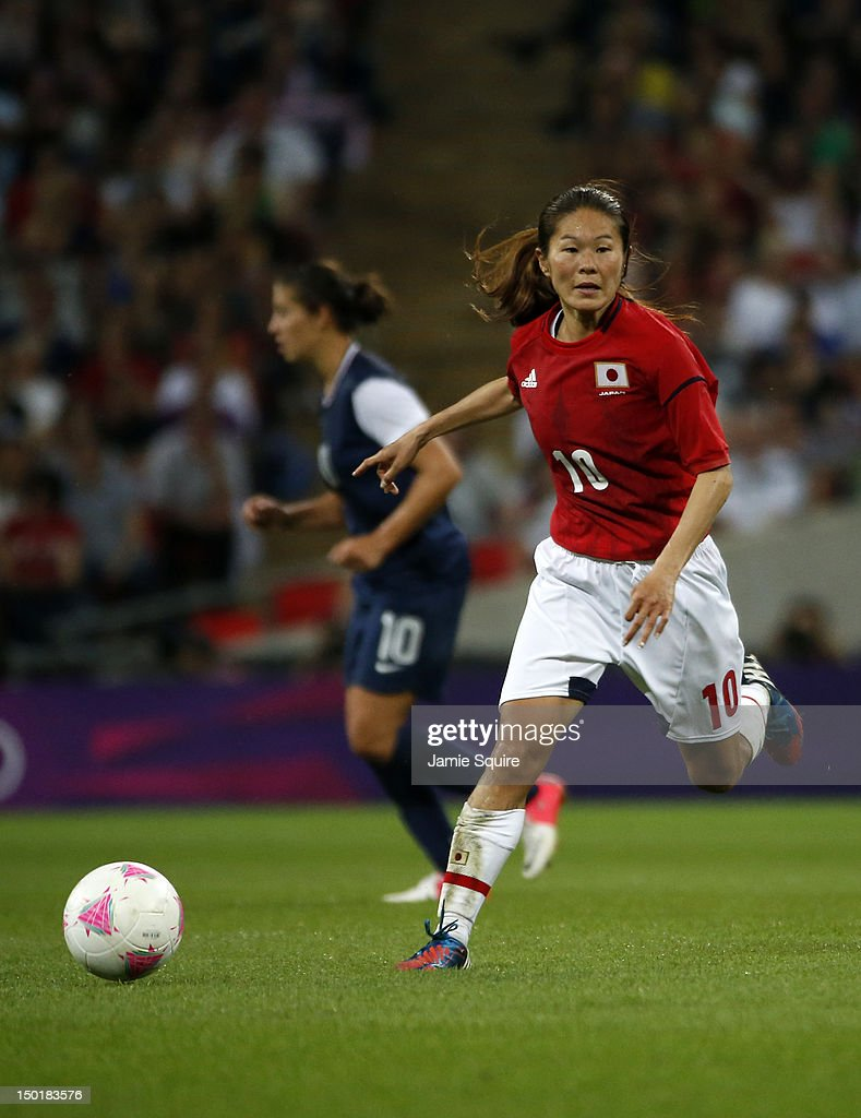 Homare Sawa of Japan in action during the Women's Football gold medal match between the United States and Japan on Day 13 of the London 2012 Olympic Games at Wembley Stadium on August 9, 2012 in London, England. at Wembley Stadium on August 9, 2012 in London, England.