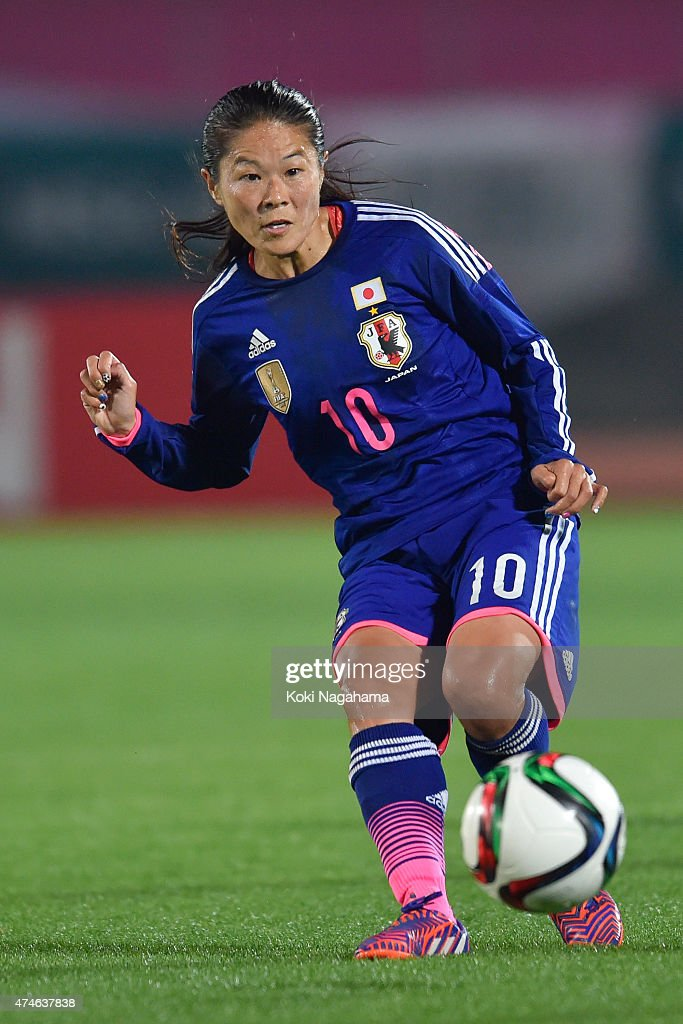 <a gi-track='captionPersonalityLinkClicked' href=/galleries/search?phrase=Homare+Sawa&family=editorial&specificpeople=744563 ng-click='$event.stopPropagation()'>Homare Sawa</a> of Japan kicks the ball during the MS&AD Nadeshiko Cup 2015 women's soccer international friendly match between Japan and New Zealand at Kagawa Prefectural Marugame Stadium on May 24, 2015 in Marugame, Japan.