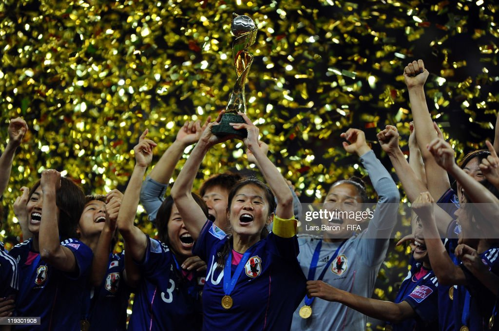<a gi-track='captionPersonalityLinkClicked' href=/galleries/search?phrase=Homare+Sawa&family=editorial&specificpeople=744563 ng-click='$event.stopPropagation()'>Homare Sawa</a> of Japan lifts the trophy after winning the FIFA Women's World Cup Final match between Japan and USA at the FIFA Women's World Cup Stadium on July 17, 2011 in Frankfurt am Main, Germany.