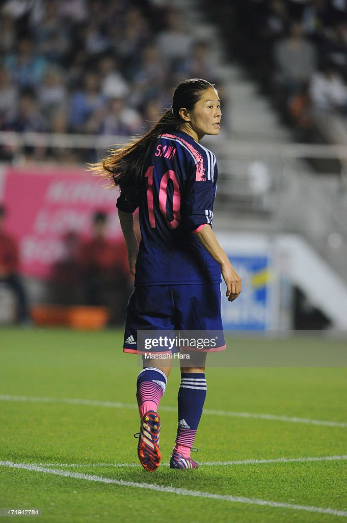 <a gi-track='captionPersonalityLinkClicked' href=/galleries/search?phrase=Homare+Sawa&family=editorial&specificpeople=744563 ng-click='$event.stopPropagation()'>Homare Sawa</a> of Japan looks on during the Kirin Challenge Cup 2015 women's soccer international friendly match between Japan and Italy at Minami Nagano Sportspark on May 28, 2015 in Nagano, Japan.