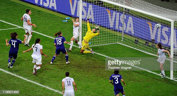 Homare Sawa of Japan scores her team's second goal during the FIFA Womens's World Cup Final between the United States of America and Japan at FIFA...