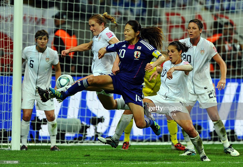 Homare Sawa of Japan scores his teams second goal during the FIFA Women's World Cup Final match between Japan and USA at the FIFA Women's World Cup Stadium on July 17, 2011 in Frankfurt am Main, Germany.