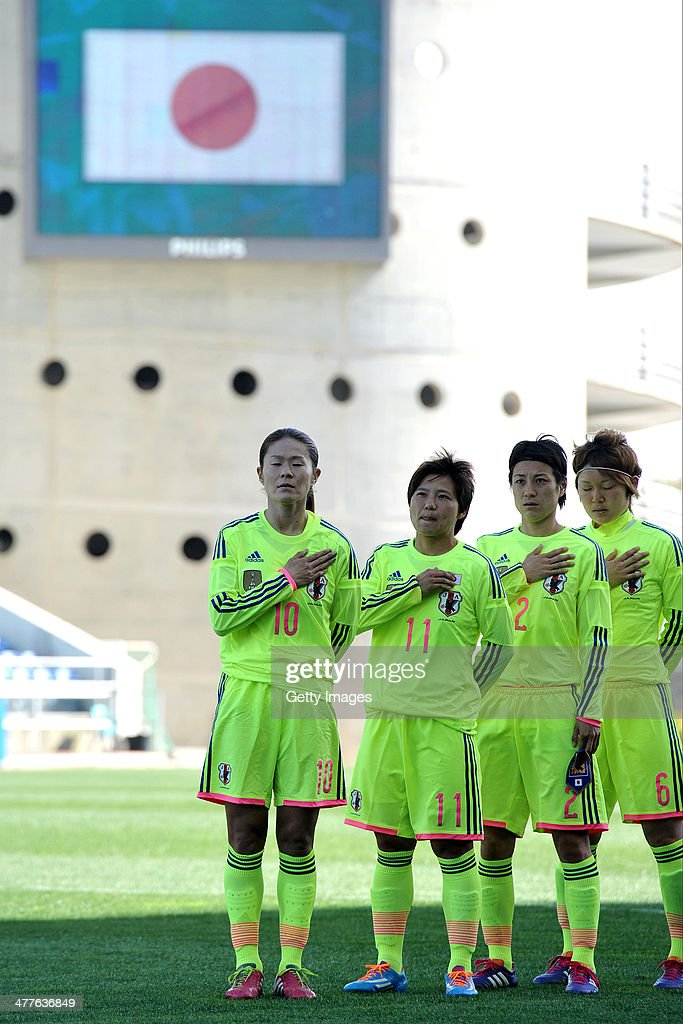 Homare Sawa of Japan sings the national anthem during the Algarve Cup 2014 match between Japan and Sweden on March 10, 2014 in Loule, Portugal.