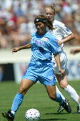 Homare Sawa of the Atlanta Beat dribbles the ball against the Washington Freedom during the Founders Cup Championship Match on August 24 2003 at...
