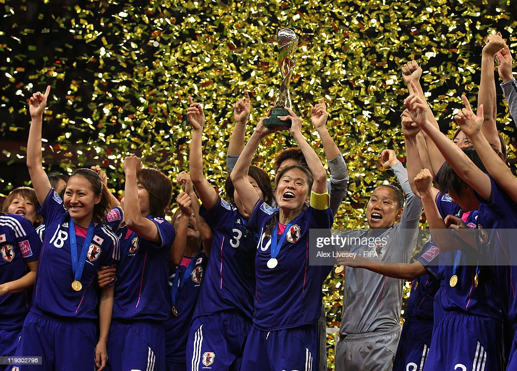 <a gi-track='captionPersonalityLinkClicked' href=/galleries/search?phrase=Homare+Sawa&family=editorial&specificpeople=744563 ng-click='$event.stopPropagation()'>Homare Sawa</a> the captain of Japan lifts the Women's World Cup after victory over USA in the FIFA Women's World Cup Final match between Japan and USA at the FIFA Women's World Cup Stadium on July 17, 2011 in Frankfurt am Main, Germany.
