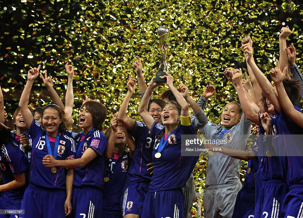 Homare Sawa the captain of Japan lifts the Women's World Cup after victory over USA in the FIFA Women's World Cup Final match between Japan and USA at the FIFA Women's World Cup Stadium on July 17, 2011 in Frankfurt am Main, Germany.