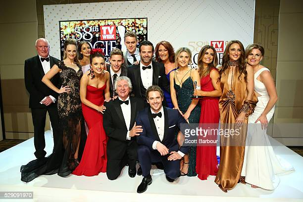 Home and Away cast members pose with the Logie Award for Best Drama Program during the 58th Annual Logie Awards at Crown Palladium on May 8 2016 in...