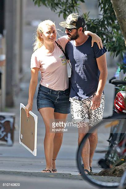 Home And Away star Bonnie Sveen is seen with boyfriend Nathan Gooley in Newtown on February 9 2016 in Sydney Australia