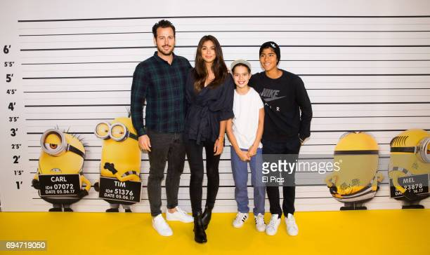 Home and Away star Pia Miller and Tyson Mullan and her sons attend the Despicable Me 3 Premiere at Entertainment Quarter on June 10 2017 in Sydney...